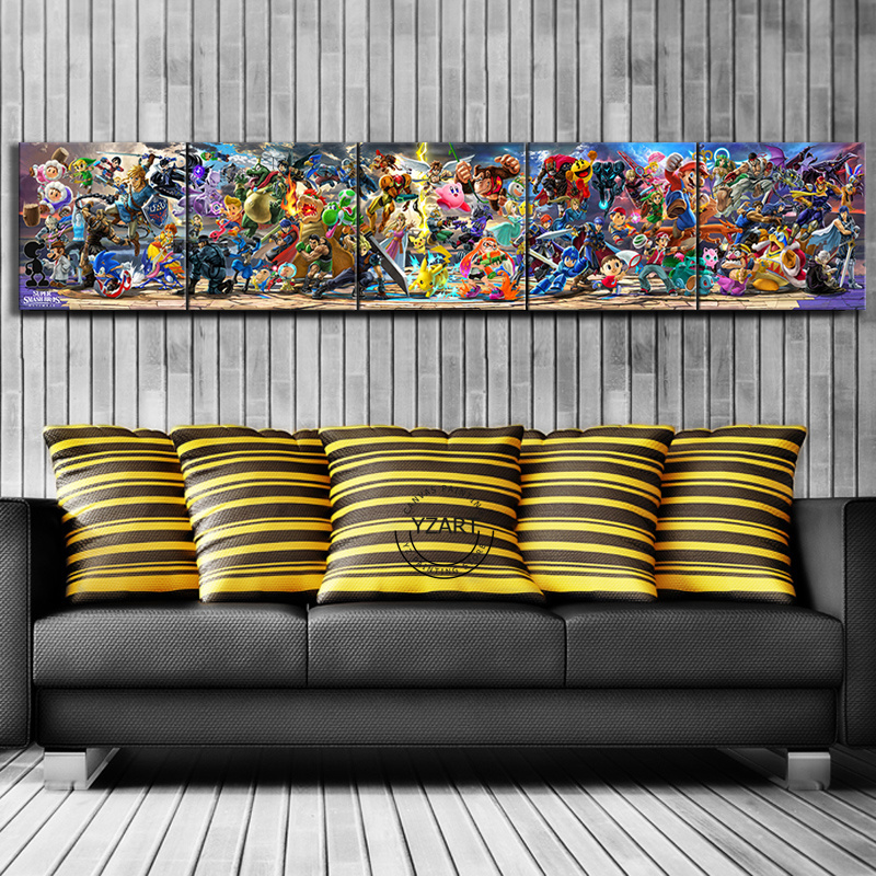5 Piece Super Smash Bros Cartoon Pictures Video Game Poster Artwork Canvas Paintings  Wall Art for Home Decor 1