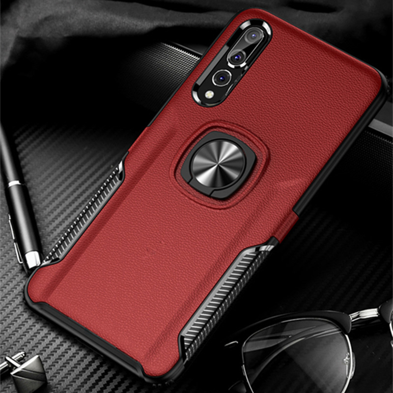 Magnetic Metal Ring Bracket Case For Huawei P20 Pro P30 Lite Luxury Leather Back Cover For Y9 2019 Nova 3 3i 4 P Smart Plus Case