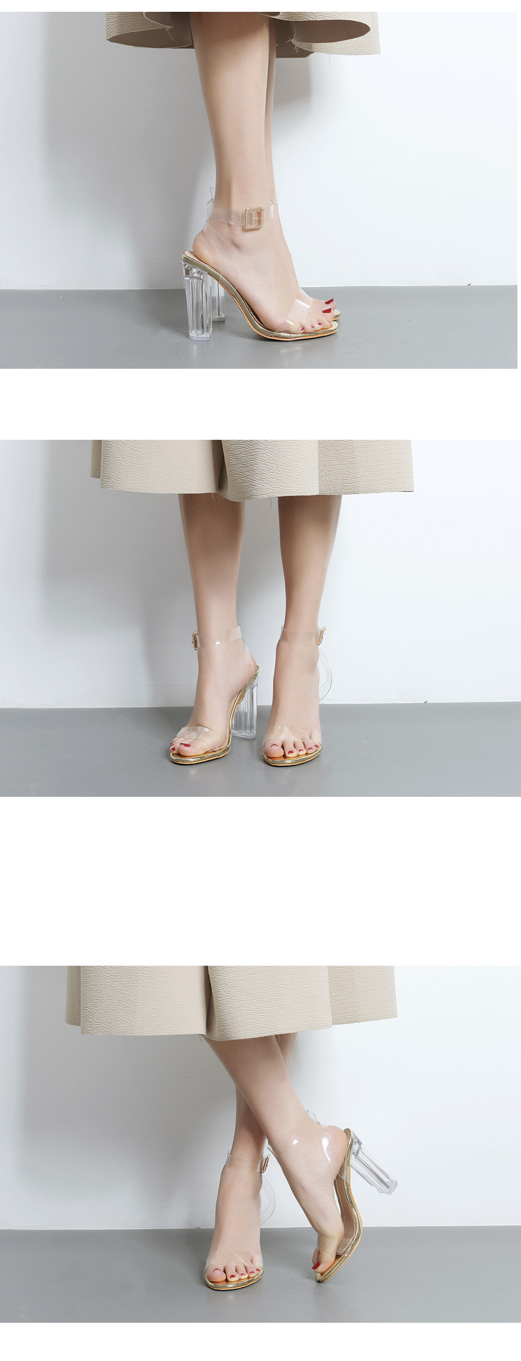 HTB1zBddXdfvK1RjSspfq6zzXFXaO Eilyken 2019 PVC Jelly Sandals Crystal Leopard Open Toed High Heels Women Transparent Heel Sandals Slippers Discount Pumps 11CM