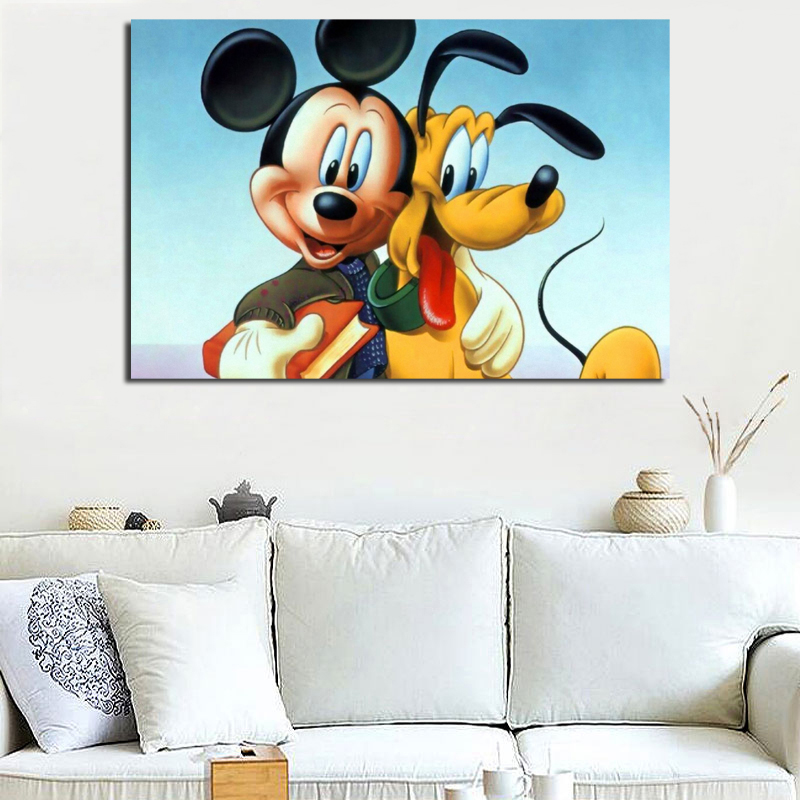 Mickey Mouse And Pluto Wallpaper Wall Art Canvas Poster And Print Canvas Painting Oil Decorative Picture For Bedroom Home Decor in Painting Calligraphy from Home Garden