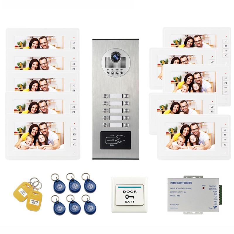 JEX Video Door Intercom 7 Inch Video Door Phone Video Doorbell System with RFID Access Door Camera For 10 Unit Apartment все цены