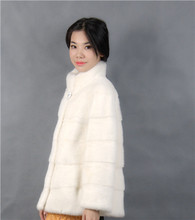 2016 winter woman fashion with a collar short white color natural mink fur