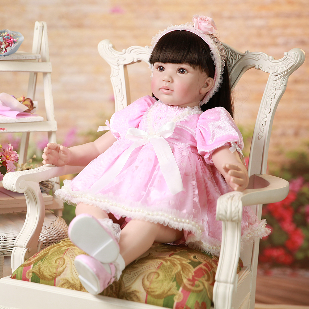 Pink Dress Soft Silicone Reborn Toddler Princess Girl Baby Doll Toys for Girls Educational Doll Toys Birthday Christmas Gifts 52cm shoulder length hair reborn toddler baby girl doll smling princess girl doll in flower dress girls toys birthday xmas gifts