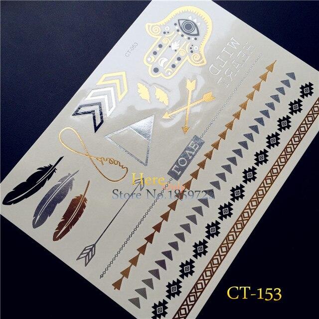 1PC Gold Silver Tattoo Flash Metallic Bracelet Women HT153 Hamsa Hand Eye Arrow Feather Tattoo Necklace Temporary Tattoo Sticker
