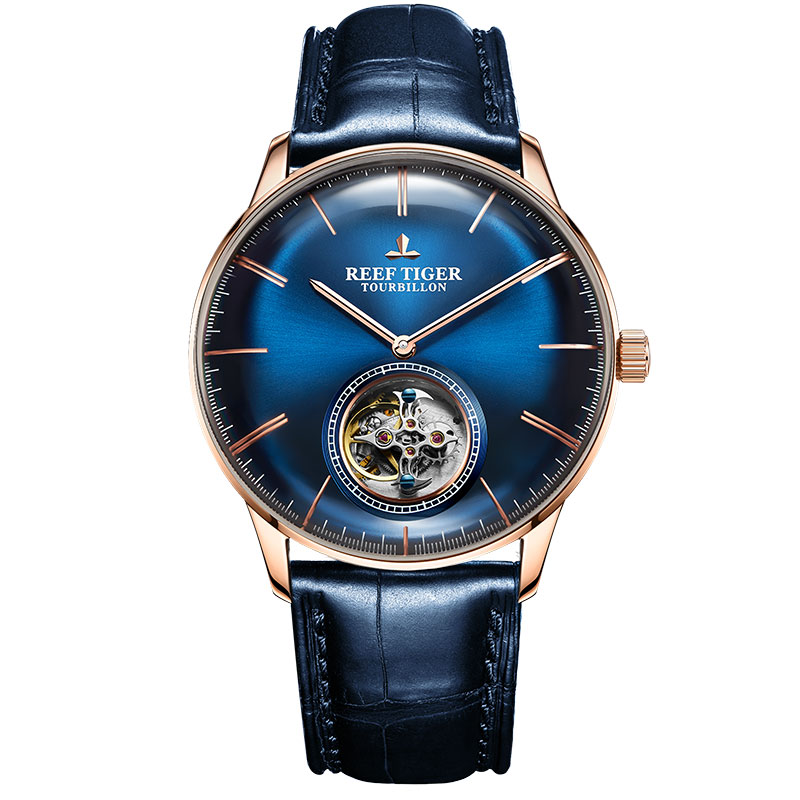 Reef Tiger RT Men Luxury Brand Tourbillon Watch Blue Rose Gold Automatic Watches Genuine Leather Strap