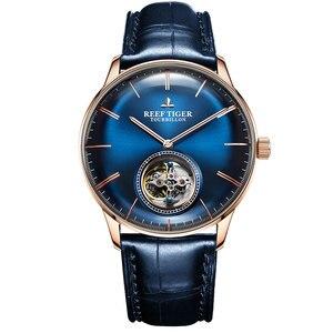 Image 1 - Riff Tiger/RT Männer Luxus Marke Tourbillon Uhr Blau Rose Gold Automatische Uhren Echtes Leder Strap relogio maskuline RGA1930