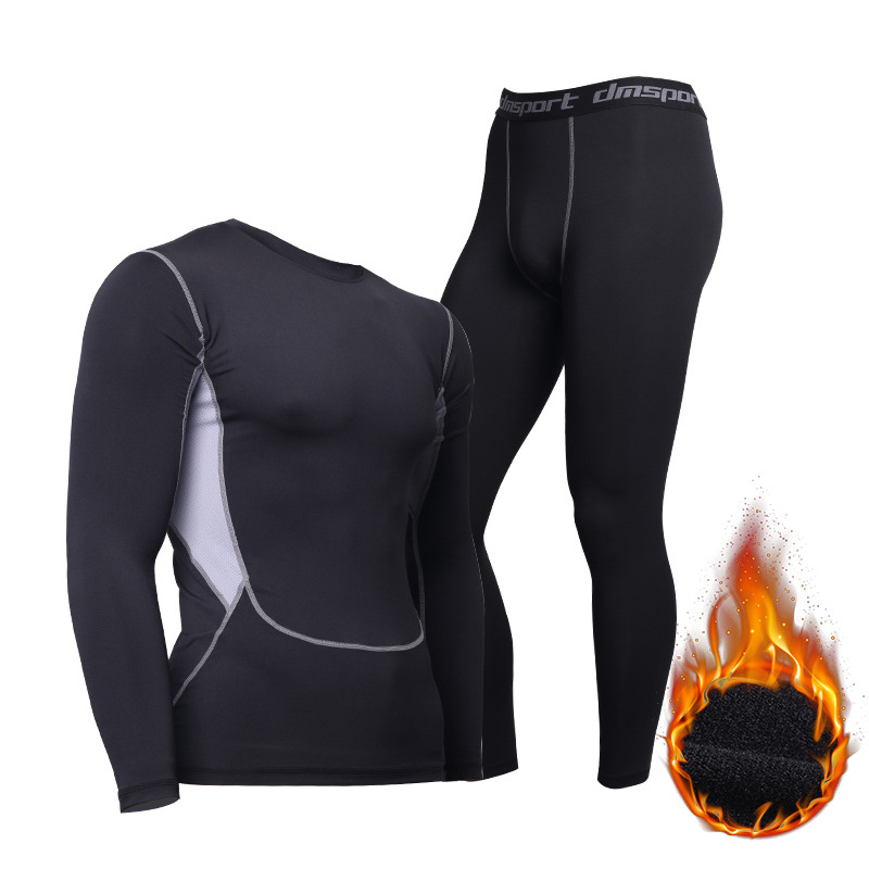 Winter Thermal Underwear For Men Keep Warm Long Johns Fitness Flecce Legging And Undershirts(China)