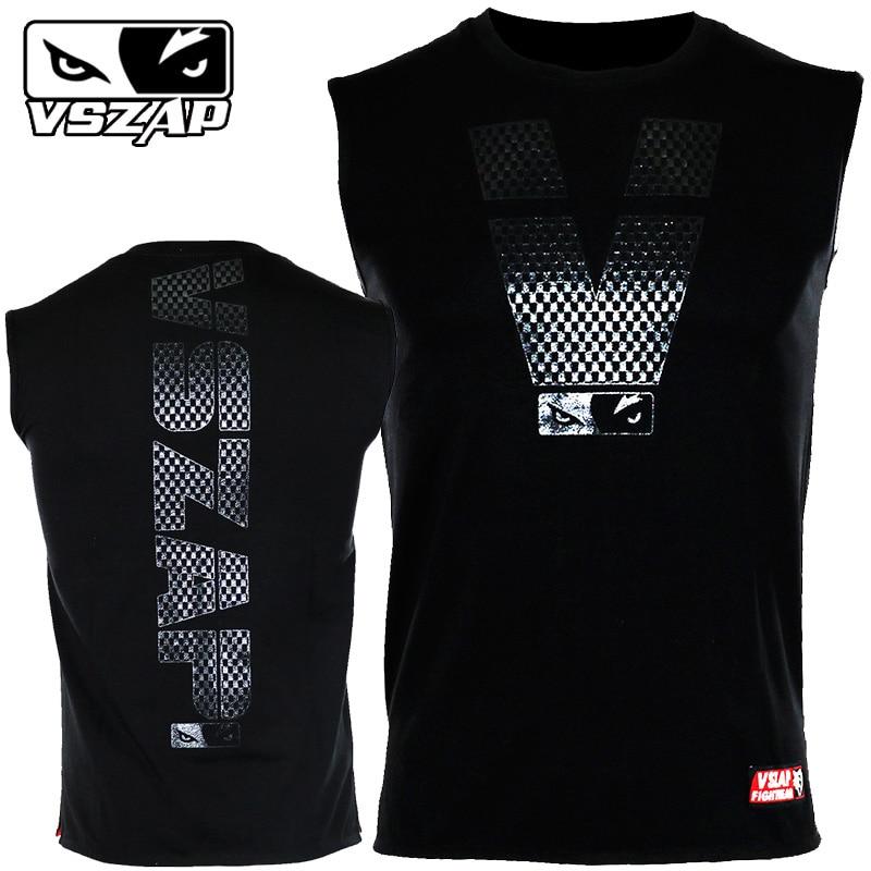 VSZAP Boxing Jerseys MMA Sleeveless T-shirt Fitness Training Gym T Shirt Combat Fighting Wolf Running Muay Thai T Shirt