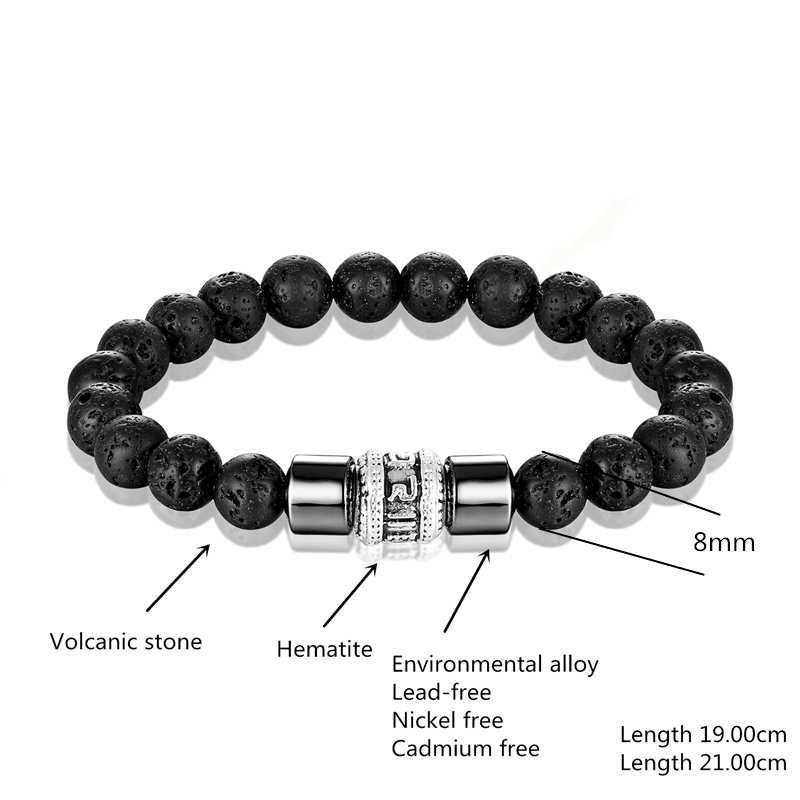 Pulsera de piedra del volcán del Budismo Tibetano de la vendimia pulsera de las mujeres de seis caracteres OM MANI PADME HUM Amulet pulsera de cuentas para hombre Pulseras
