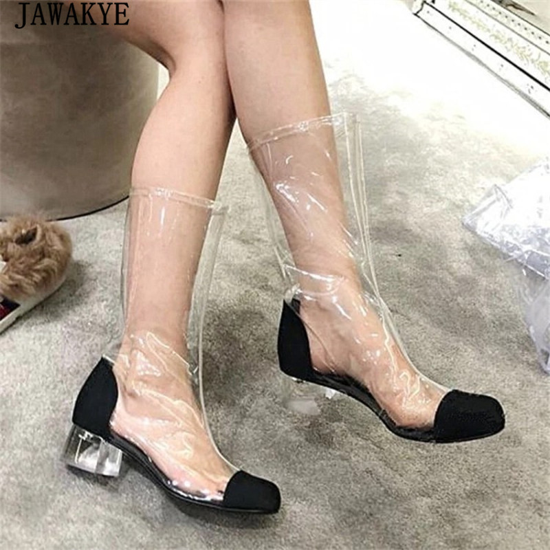 Pour White Sexy D'été 2018 Bottes Pluie Femmes Genou Femme black Sandales white Chaussures De Long black Haute Transparent Short Cheville Talons Long Moyen Pvc Short qtxwfT