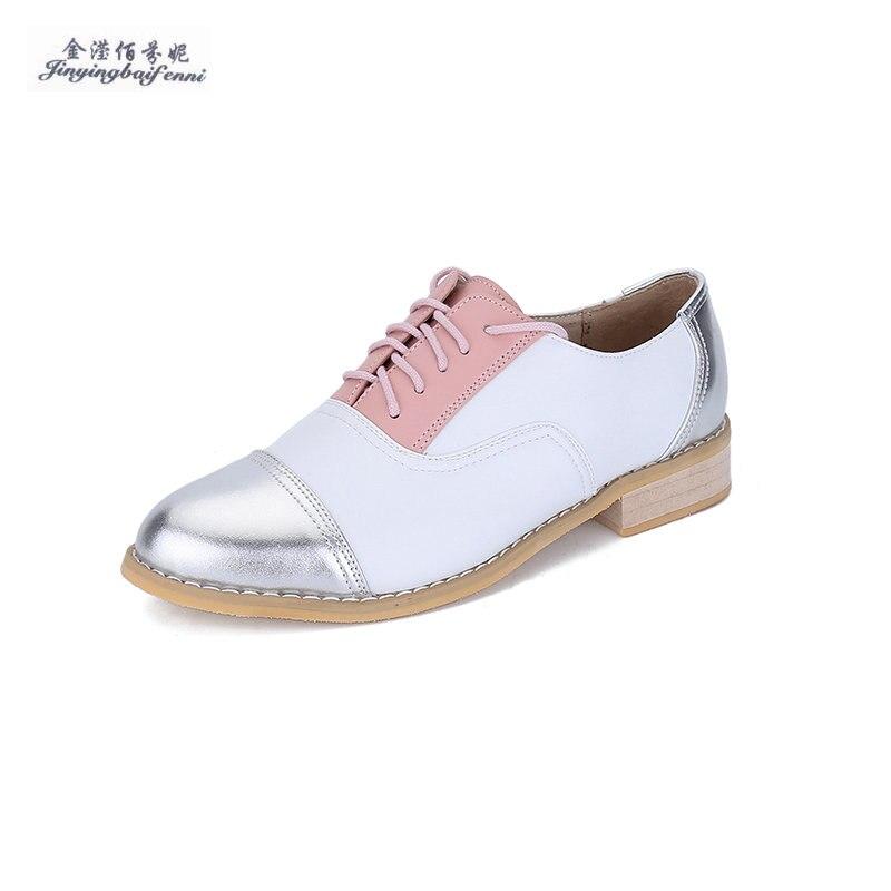 11 Farbe Optionen Vier Jahreszeiten Heißen Echtes Leder Weibliche Derby Schuhe Vintage Oxford Schuhe Für Frauen Größe 33-46 Freizeit Flache Schuh Seien Sie Freundlich Im Gebrauch