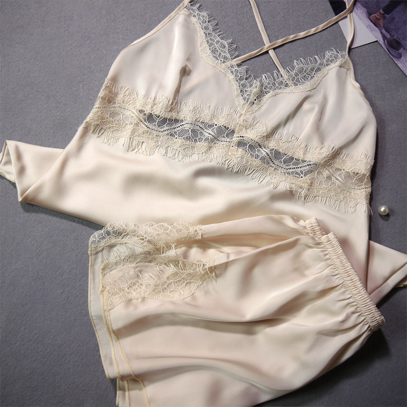 PIGIAMA Chiffon Sexy Cross-Stitch Pyjamas Women   Pajama     Sets   Lace Homewear Bathrobe Women Pijamas Ladies Nighty Sleepwear