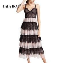 d81693460d LALA IKAI Brand Patchwork Summer Dress Women Backless V-Neck Ruffles Midi  Cake Sexy Dresses