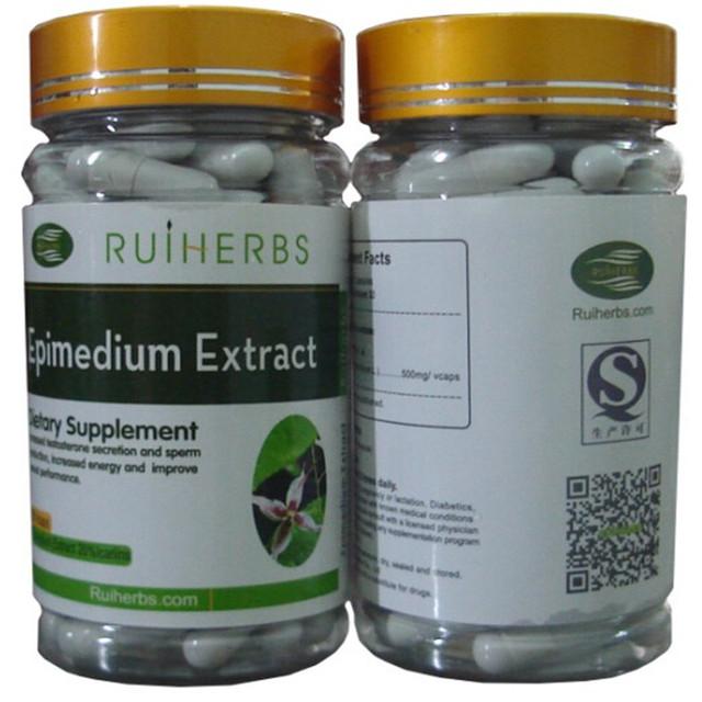 2 Botellas de Horny Goat Weed (Epimedium) Extracto 20% Icariins 500 mg x180Capsule envío gratis