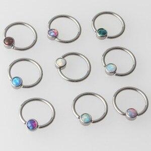 Image 1 - Титановое кольцо с плоским диском G23, 9 цветов, опал, кольцо для перегородки, носа, ушей, хряща, кольцо для сосков, пирсинг, ювелирные изделия для тела