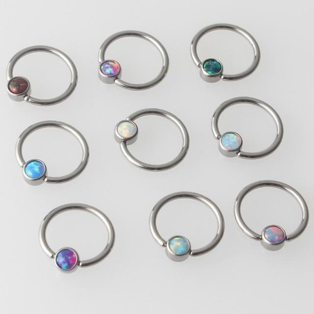 Титановое кольцо с плоским диском G23, 9 цветов, опал, кольцо для перегородки, носа, ушей, хряща, кольцо для сосков, пирсинг, ювелирные изделия для тела