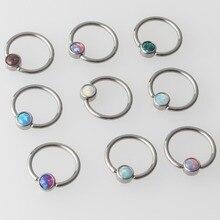 Mix 9 Kleur Opaal G23 Titanium Platte Schijf Captive Bead Ring Septum Neus Oor Tragus Cartilalge Tepel Ring Piercing Lichaam sieraden