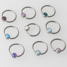Mix 9 cor opala g23 titânio plana disco cativo grânulo anel septo nariz orelha tragus cartilalge nipple anel piercing jóias do corpo