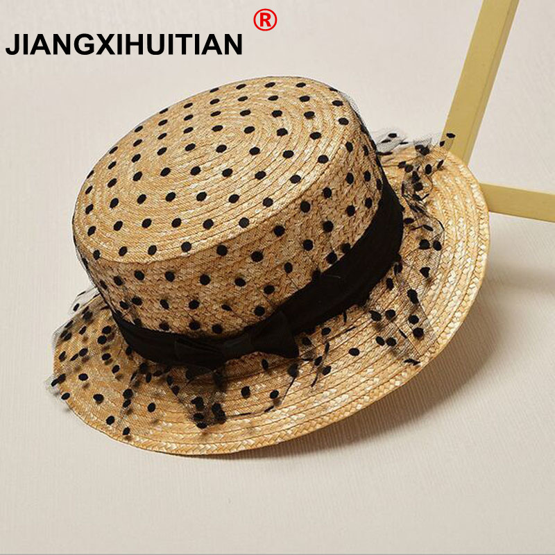 تابستان جدید دختران مد گسترده ای بزرگ باریک فلاپی بوهمیا کمان توری ژاپنی کاپوت توری ژاپنی Sun Straw Hat cap for 53cm کودک