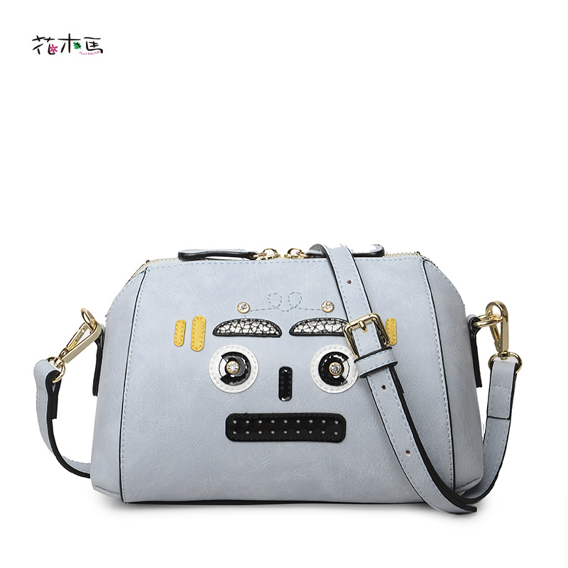 ФОТО HuMuMa Lady Cartoon messenger bag female personalized fashion patchwork shoulder bag PU leather  women crossbody bag