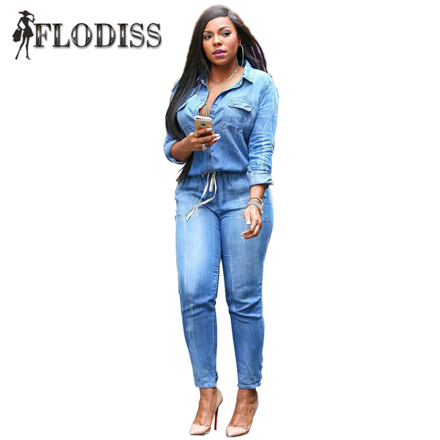 c14786f5a32f Country Way Long Sleeve Denims Rompers 2017 Stylish Women Full Length Denim  Jumpsuits Ladies Fashion Blue