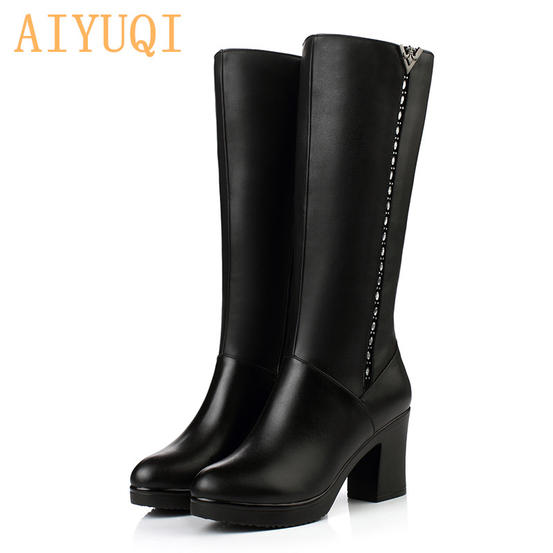 Women Winter Boots 2019 Genuine Leather boots high heeled women long boots wool lined warm snow