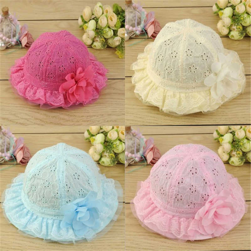 4 Color Baby Hollow Sun Cap Pure Color Lace Sunshade Summer Beach Bucket Flower Hat