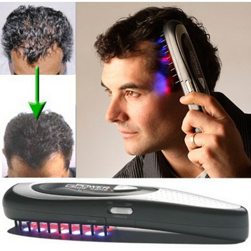 Power Hair Glow Massage Comb Therapy Laser Scalp Treatment Hair Loss Regrowth Massager Comb Health care Tool L35 laser hair growth comb 6 color led light micro current for hair massage remove scurf n repair hair hair loss