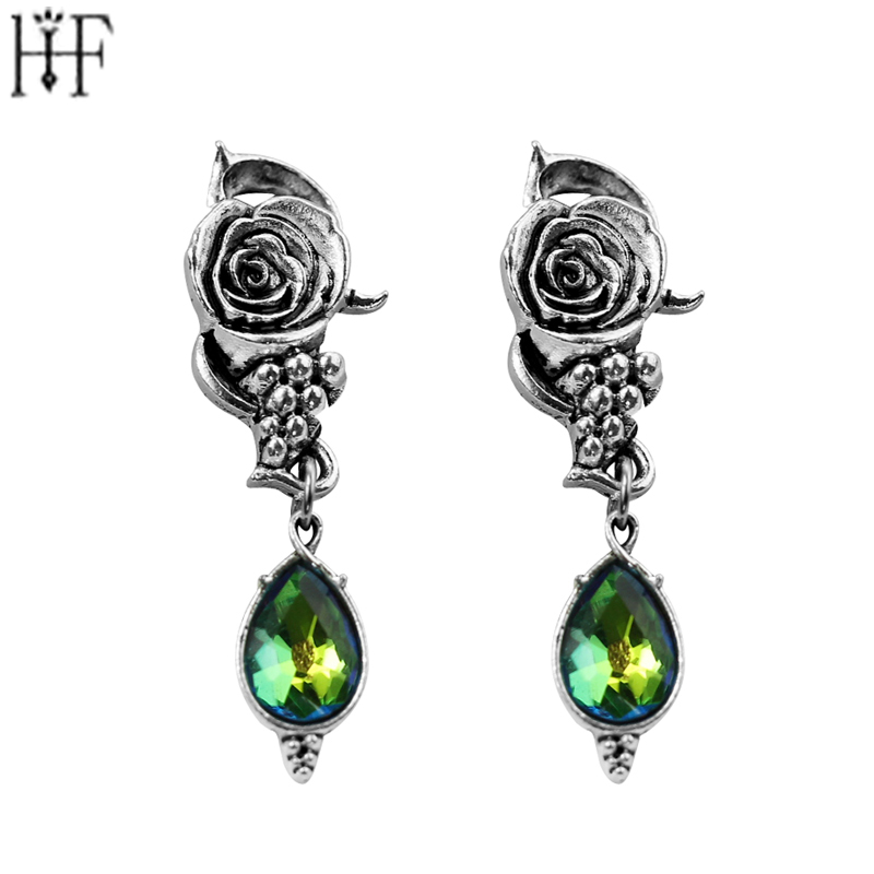 2017 Rose Flower Green Crystal Stud Earrings Ancient Silver Plated Earrings Vintage Wedding Engagement Jewelry For Women Gift