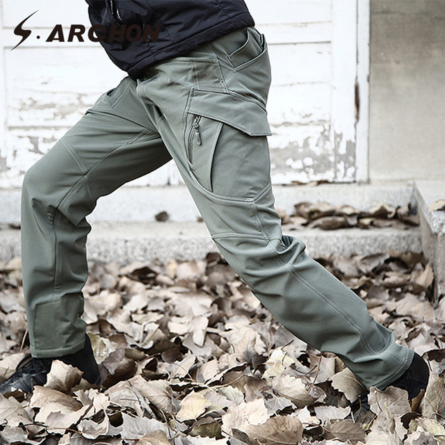 Man Shark Skin Soft Shell Waterproof Military Pants Men Winter Warm Tactical Cargo Pants Casual Multi Pocket Army Trousers
