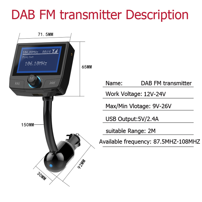 ShinyBean DAB FM Transmitter Bluetooth HD LCD Display Wireless FM Modulator For Cars FM Radio Car Charger Adapter GPS Antenna cze 7c 7watt stereo lcd broadcast radio station fm transmitter 12v adapter antenna cable