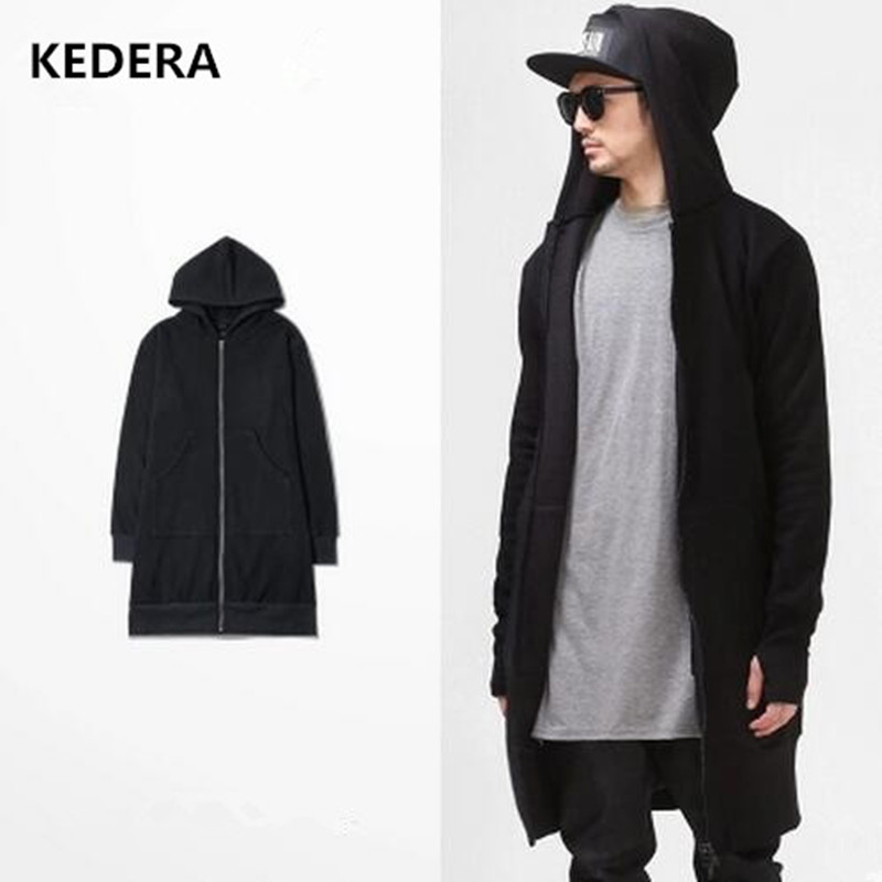 2016 High Quality Casual Men Hooded Cardigan Black Gown Sudaderas ...