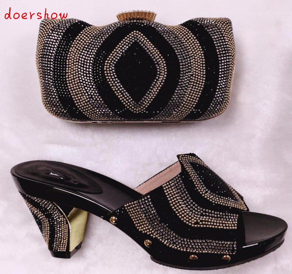 Italian African Shoes And Bag Set For Party In Women Italian Matching Shoe And Bag Set Wedding High Quality doershow HHY1-29