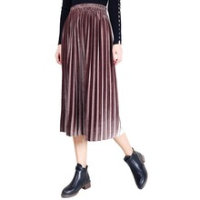 Women Spring Pleat Skirt Casual Fashion Office Plain Empire Girl Elegant Oversize mid calf pleated 2019 new Velvet
