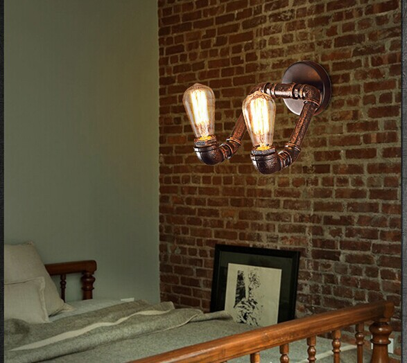 iron pipe american industrial loft retro wall light,Vintage wall lamp for home living lights,E27*2 Bulb Included, 90V~260V retro matte black iron ceiling light american industrial iron lights