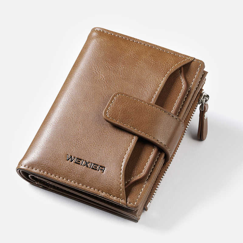 Vintage Man Short Wallet PU Leather Purse For Man Small Coin Bag Card Holder Men's Wallets Solid Zipper Purses Clutch Wallet