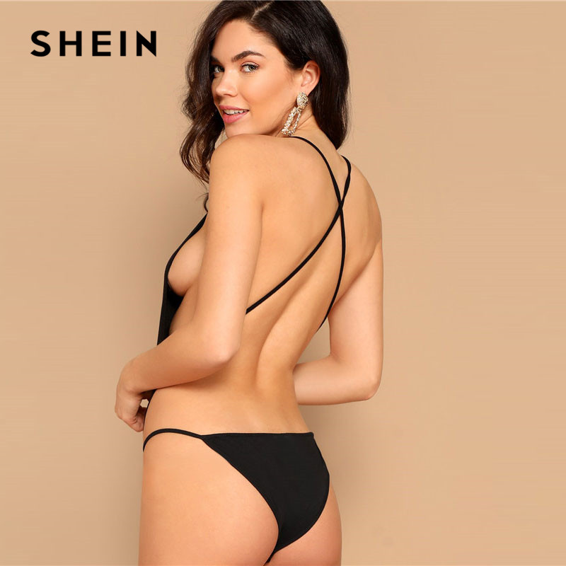 SHEIN Black Criss Cross Backless Open Side Cheeky Bodysuit Summer Sexy Sleeveless Spaghetti Strap Skinny Body Suits For Women 2