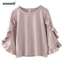 WEONEWORLD/новые рубашки для девочек хлопковая Детская осенняя Футболка дизайнерская одежда с длинными рукавами одежда для детей
