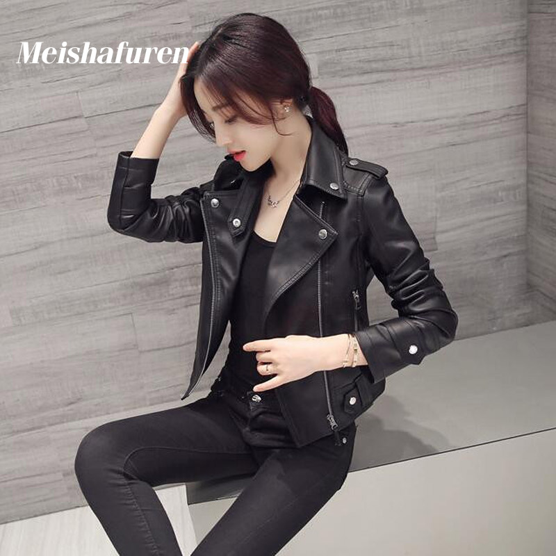 Donna Women Faux Leather Jacket Slim Long Sleeve Faux PU Leather Zipper Coat Lady Sexy Black Motorcycle Jacket W47S