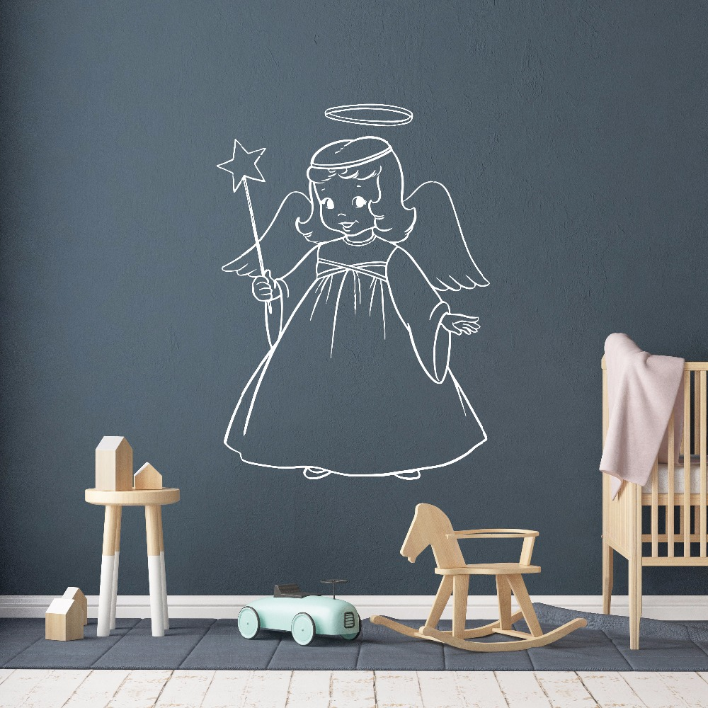 Girls Room Decor Angel Girl Wall Decal Sweet Vinyl Sticker Nursery Wallpaper For Kids Cute Decals AY1767
