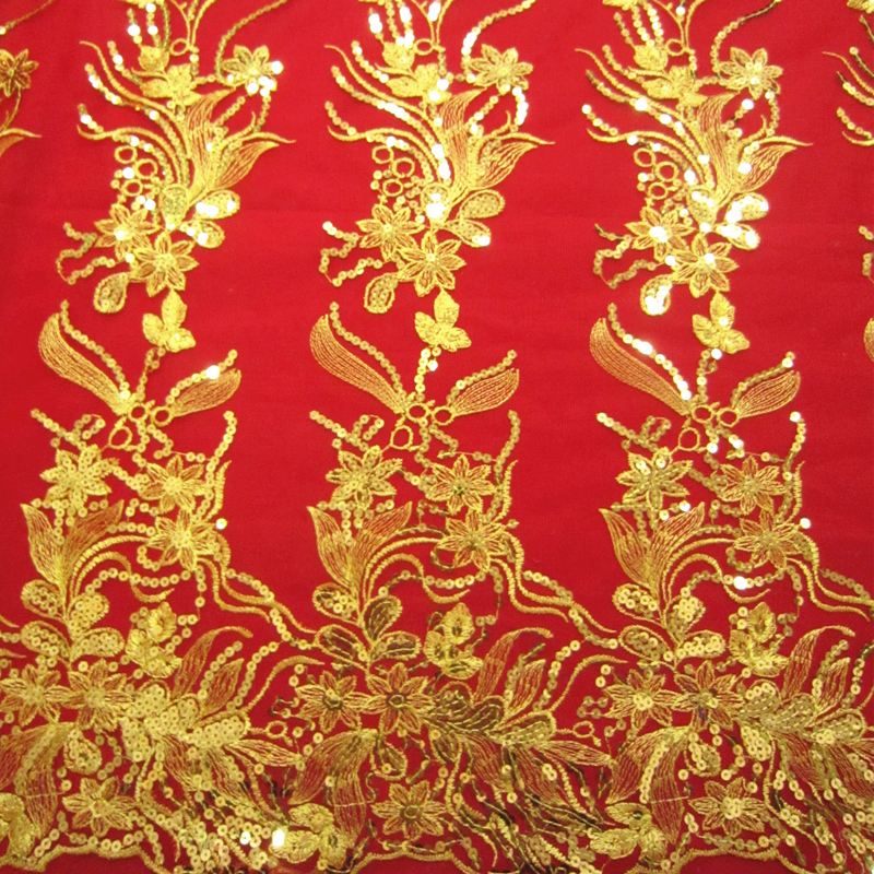 Hotselling Gorgeous Sequin Gold  Buddhistan Flower Lace Appliques Gauze embroidery Cheongsam lace fabric