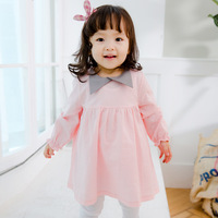Everweekend Kids Girls Spring Baby Korean Cute Solid Pink Blue Color Dress Sweet Toddler Girls Princess Dress