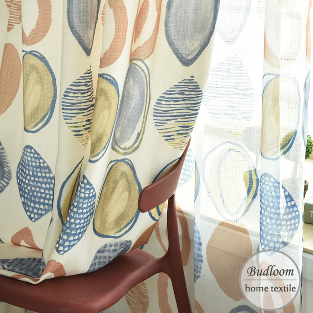 Colorful Circle Modern Design Curtains For Bedroom Lovely Baby Room Window Drapes