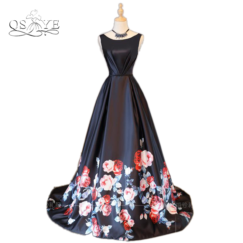 2018 New Fashion Floral Flowers Pattern Print Long Prom Dress Robe de Soiree Open Back Satin Formal Evening Party Gowns
