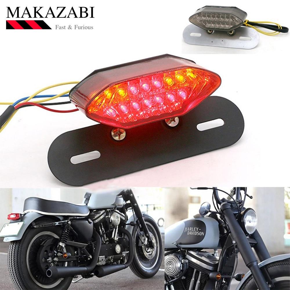 Motorcycle Taillight Turn Signal Indicators Custom Motorbike Rear Stop Lamp Brake Light Cafe Racer Flashing Lamp