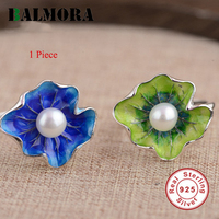 2016 New Cute 100 Real Pure 925 Sterling Silver Jewelry Lotus Leaf Pearl Rings For Women