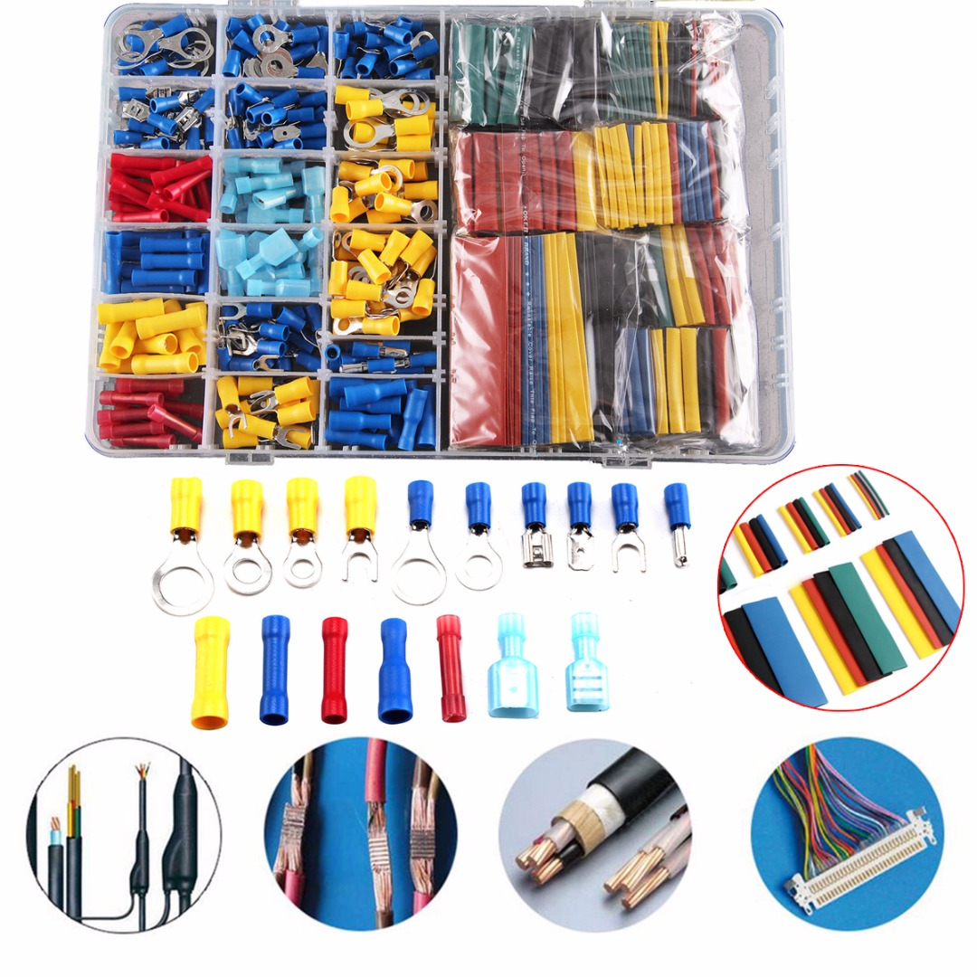 558pcs Heat Shrink Tube Sleeving Kit Set Car Wire Electrical Terminals Crimp Connectors with Plastic Box women wallets short purse genuine leather wallet women luxury brand small coin purse female clutch 3 fold cowhide leather wallet