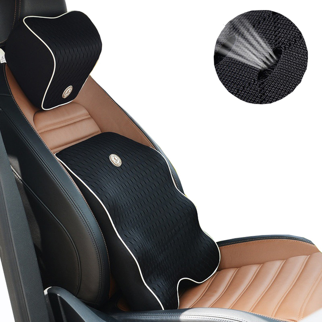 Us 32 73 30 Off 3d Mesh Seat Support Pillow Car Seat Lumbar Support Cushion Back Pillow Auto Headrest Back Pain Support Memory Foam Massage In Seat