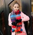 Nuevo invierno ciervos copos de nieve del diseño de la borla de punto bufanda larga navidad poms bufandas de punto