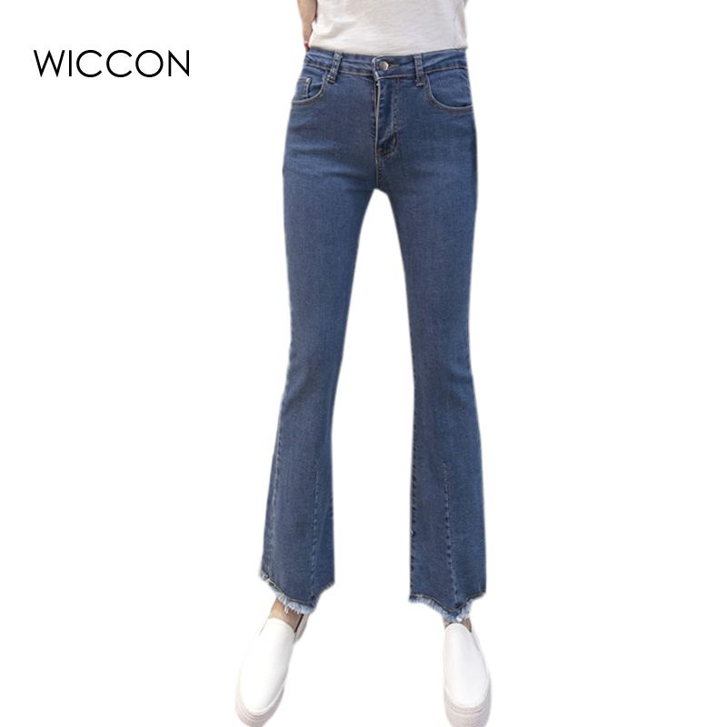 Womens Blue Denim Stretch Flare Jeans High Waisted Bell Skinny Spandex Jean Trousers Woman Denim Pants Slim Hip Women WICCON europe hot sale slim ripped women jean high waisted jeans cotton blue skinny jeans woman denim pants plus size